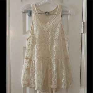 Express ivory lace tank top size small